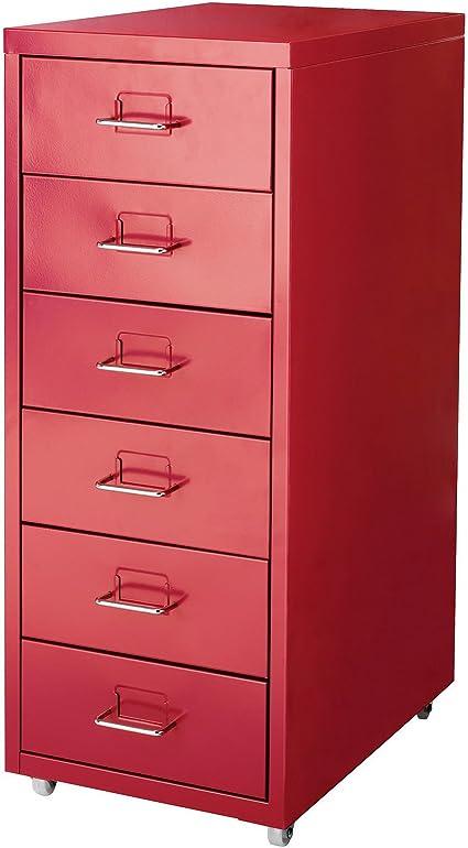 Ikea Helmer Caisson A Roulettes 6 Tiroirs En Acier Rouge 28 X 43 X 69 Cm Amazon Fr Cuisine Maison