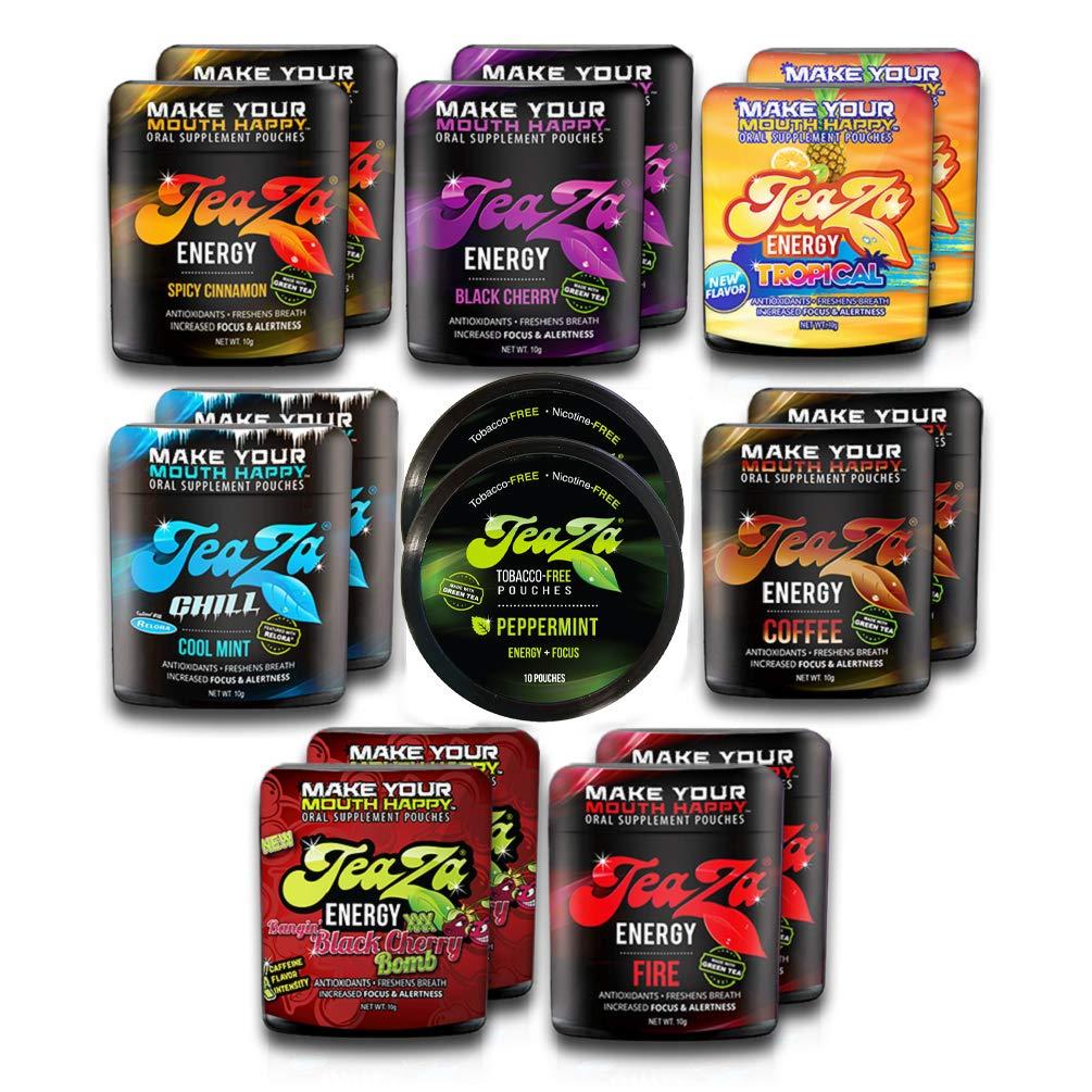 TeaZa Energy Variety Pack 16 pk.- Flip Tops, 8 Flavors Smokeless Tobacco Alternative by TeaZa