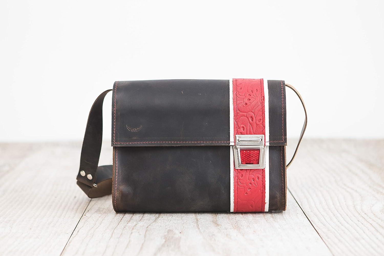 Alltagstasche Braune Ledertasche Umh/ängetasche aus Rindsleder femininer Crossbodybag