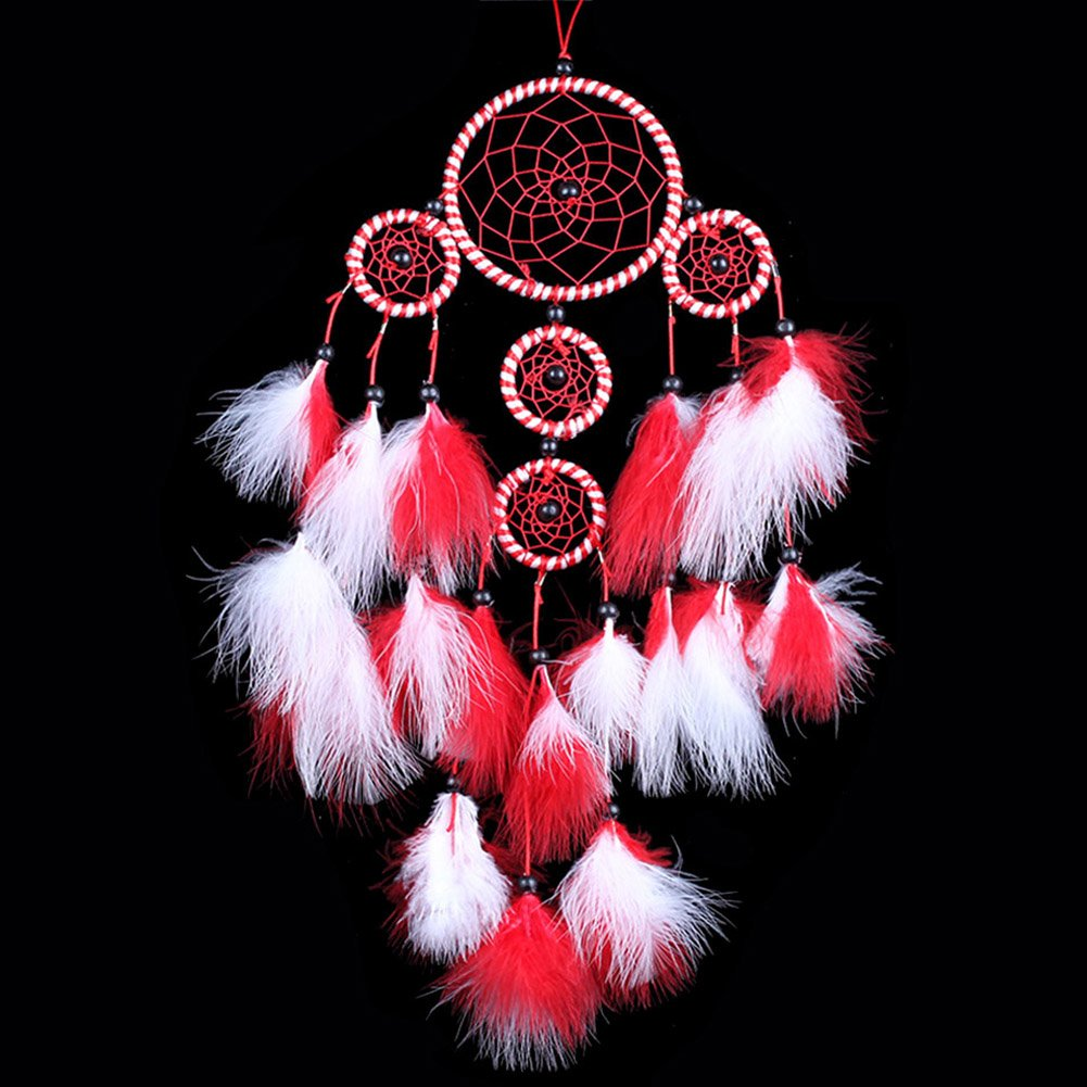 H.W.T Large Handmade Dream Catcher Traditional Dreamcatcher Wall Hanging Decoration Feather Five Rings (Red)