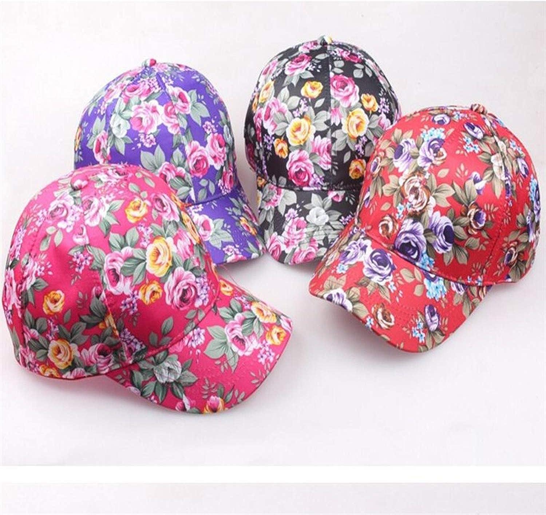 Lady Girl Flower Printing Visor Hat Baseball Cap Hip-Hop Hats for Four Seasons
