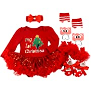 BabyPreg Baby Girls My First Christmas Santa Costume Party Dress 4PCS (Tree Red, S for 3-6 Months)