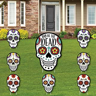 product image for Big Dot of Happiness Day of The Dead - Yard Sign and Outdoor Lawn Decorations - Halloween Sugar Skull Party Yard Signs - Set of 8