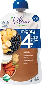 12-Pack Plum Organics Mighty 4 Toddler Food, 4 Ounce