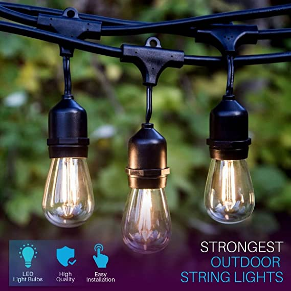 Amazon 48 ft led outdoor string lights 15 hanging sockets amazon 48 ft led outdoor string lights 15 hanging sockets perfect patio lights commercial grade 2 watt dimmable led bulbs included garden aloadofball Images