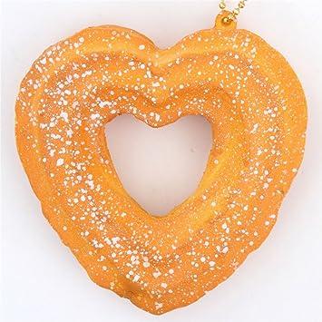Lindo colgante blando Cafe de N Squishy kawaii churro corazón liso con espolvoreado blanco: Amazon.es: Juguetes y juegos