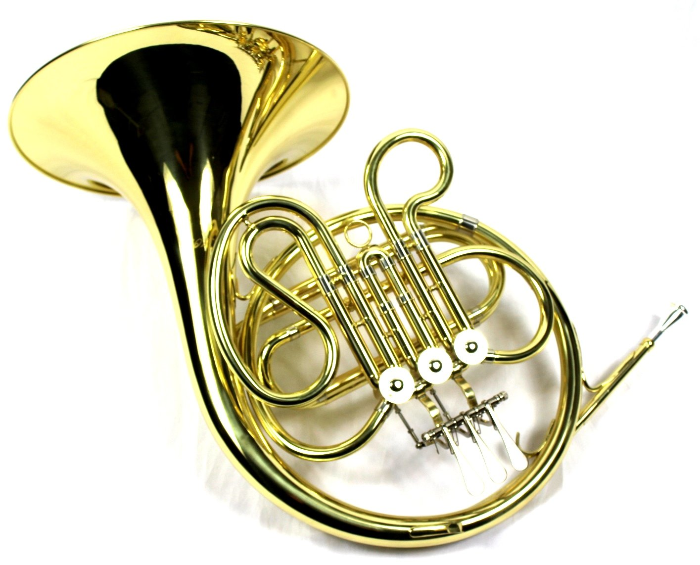 Intermediate F Key Single French Horn with Case and Mouthpiece,Gold Lacquer Finish