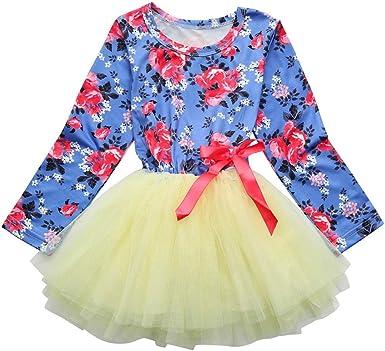 Bebé niña manga larga Floral tutú tul Bowknot Bowknot princesa fiesta falda vestido, Yannerr primavera camiseta tops blusa suéter chaqueta camisa mono traje ropa partes de arriba (4Años): Amazon.es: Ropa y accesorios