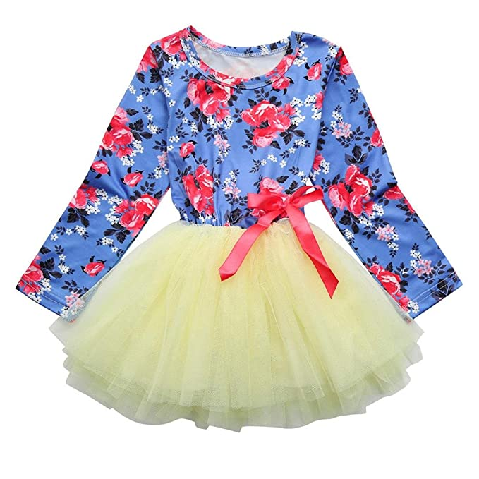 Bebé niña manga larga Floral tutú tul Bowknot Bowknot princesa fiesta falda vestido ,Yannerr primavera