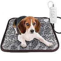 RIOGOO Pet Heating Pad, Dog Cat Electric Heating Pad Waterproof Adjustable Warming Mat with Chew Resistant Steel Cord 45x45cm