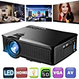 1500 Lumens Video Projector 1080P HD, Weton LCD Mini Movie Projector Portable Multimedia Home Theater Projector for iphone/Andriod Smartphones Support HDMI AV VGA USB SD for Home Cinema TV Laptop