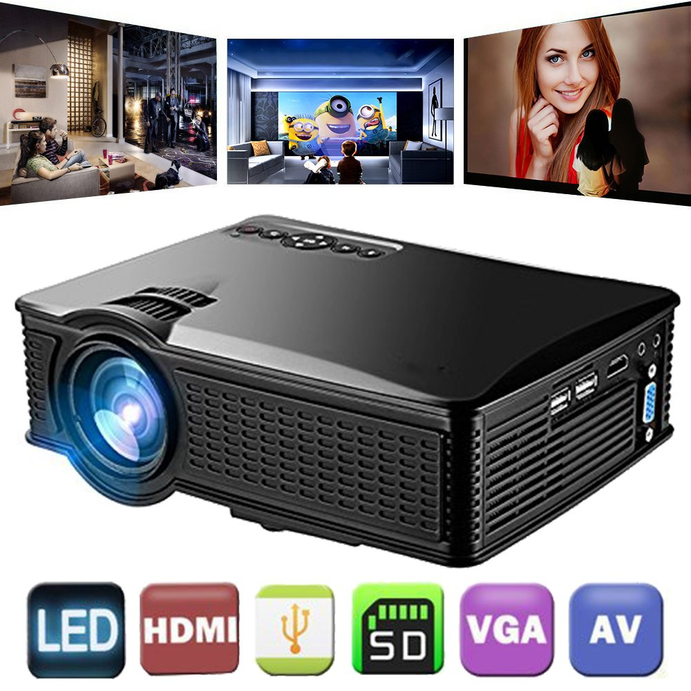 Video Projector 1080P HD, Weton 1500 Lumens LCD Portable Mini Movie Projector Multimedia Home Theater Projector for iOS/Andriod Smartphones Support HDMI AV VGA USB SD for Home Cinema TV Laptop
