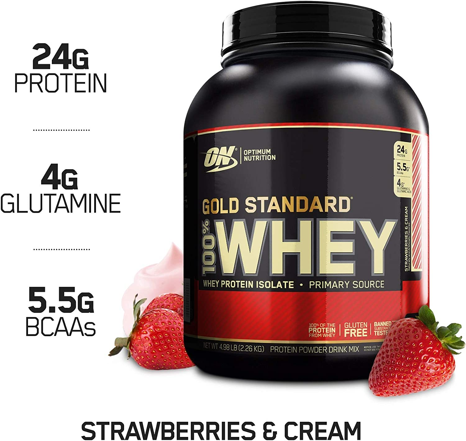 Optimum Nutrition Gold Standard 100 Whey Protein Powder, Strawberry Cream, 5 Pound