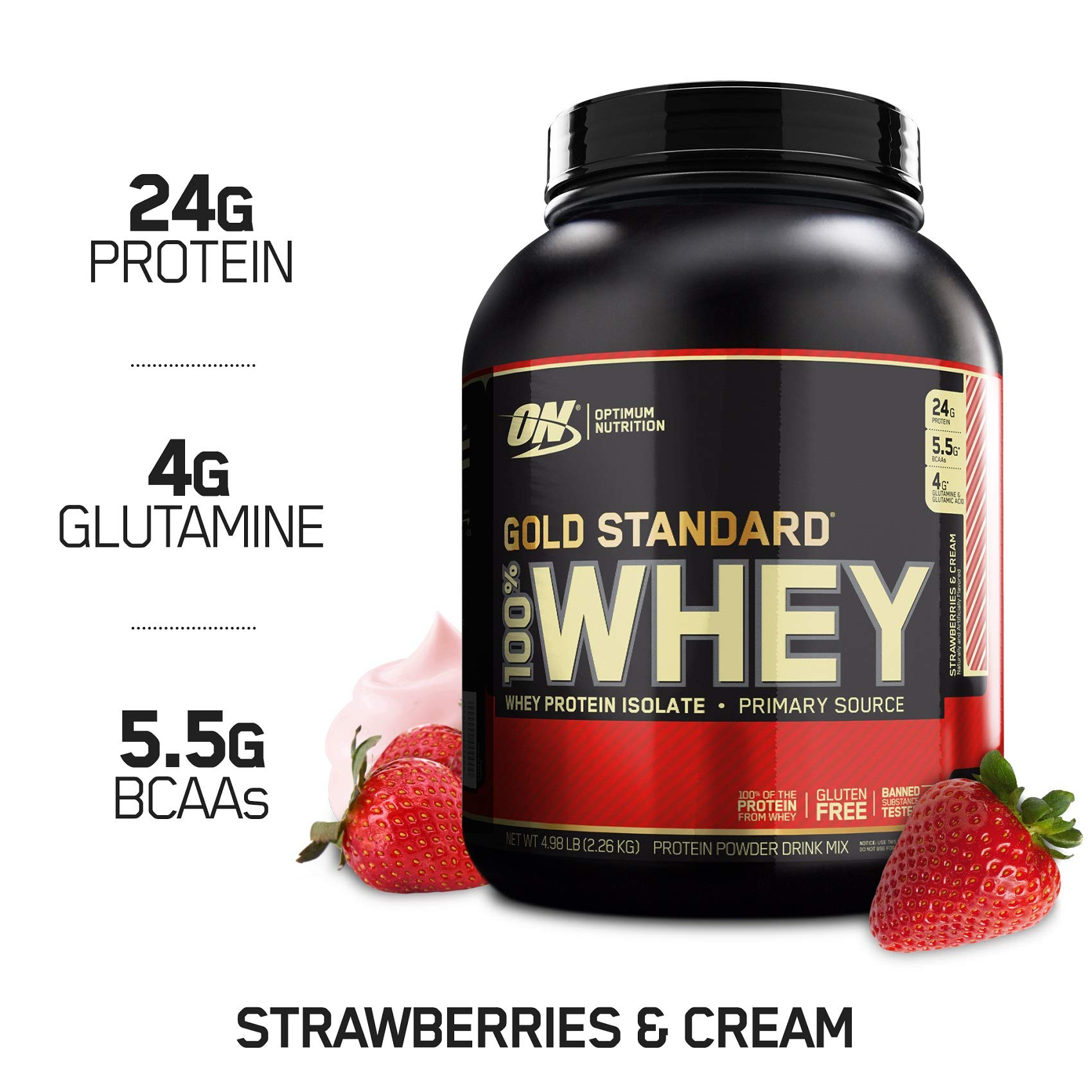 Optimum Nutrition Gold Standard 100% Whey Protein Powder, Strawberry & Cream, 5 Pound by Optimum Nutrition