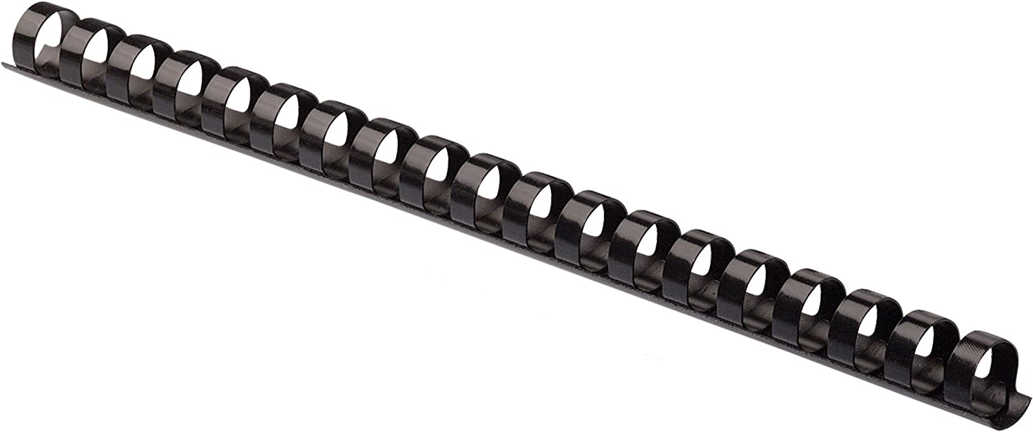 Black 25 Pack 90 Sheets 52323 1//2 Inch Diameter Fellowes Plastic Comb Binding Spines