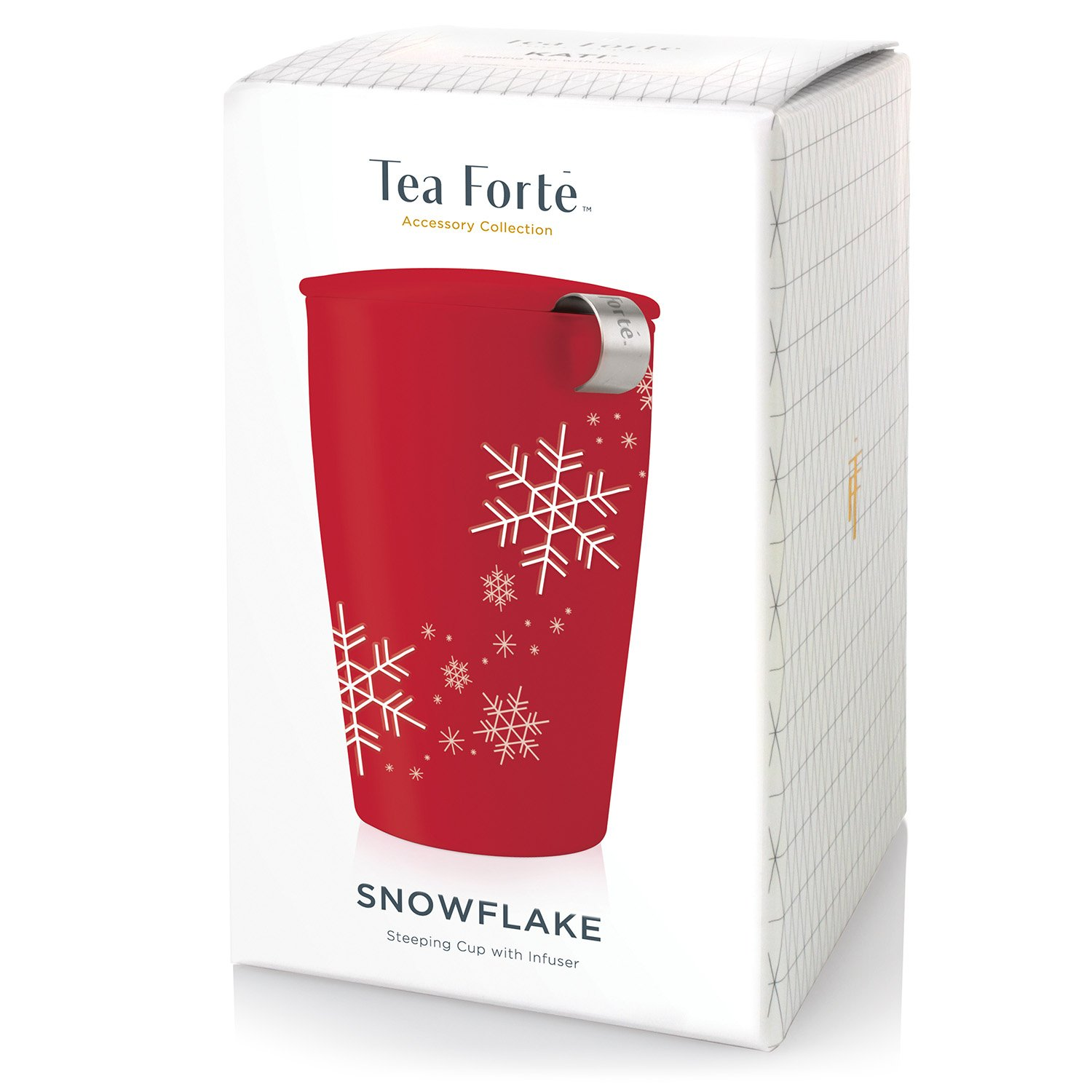 Tea Forté KATI Cup Ceramic Tea Brewing Cup with Infuser Basket and Lid for Steeping, Loose Leaf Tea Maker, Red Snowflake by Tea Forte (Image #2)