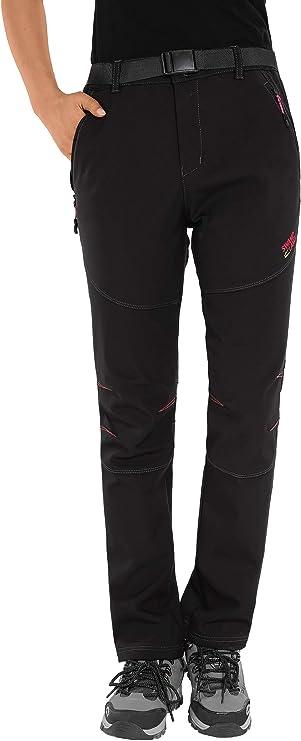 HAINES Pantalon Randonnée Femme Imperméable Chaud Pantalon Softshell Hiver Pantalons de Ski Escalade Montagne