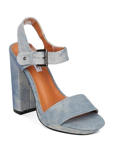 8827b4f17 Cape Robbin Women Denim Open Toe Block Heel Sandal HJ55 - Denim (Size: 6.5