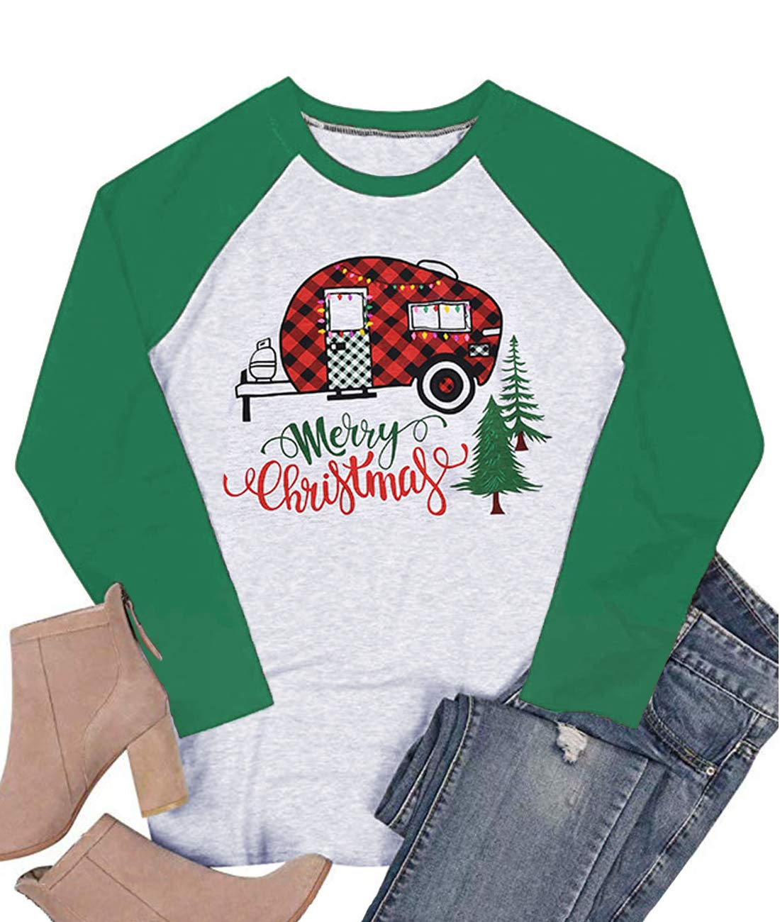 LeMarnia Graphic Tees for Women Long Sleeve, Ladies Round Neck Casual Raglan Shirts Christmas Tops Plaid Truck Tree Patchwork Letter T-Shirts Green L