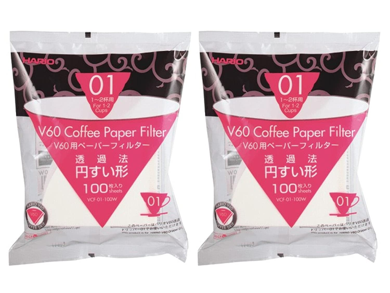 Hario VCF-02-100W-2S V60 Coffee Paper Filter White 200 Count