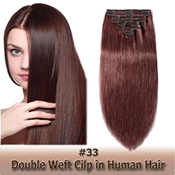 Amazon Com Double Weft Thick Clip In Human Hair Extensions Natural