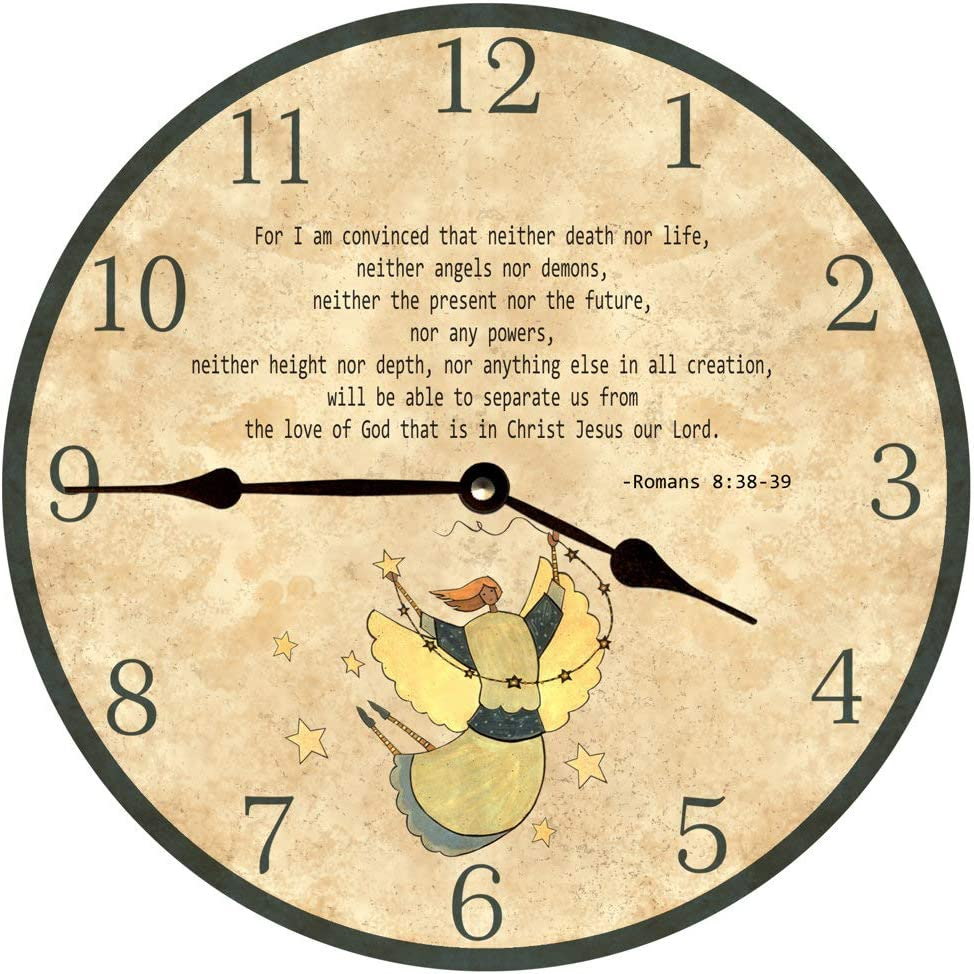 Personalized Biblical Quote Round Wall Clock Religious Family Decorative Wooden Round Home Decor Wall Clock 12 Inch