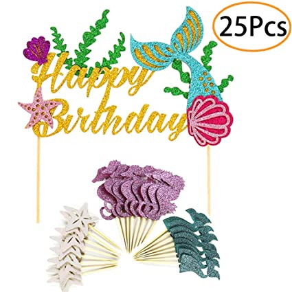 e338355dbb2 Mermaid Party Supplies and Decorations Cake Topper and 24 Cupcake Toppers  for Under the Sea Party, Birthday Party, Baby Shower and Wedding