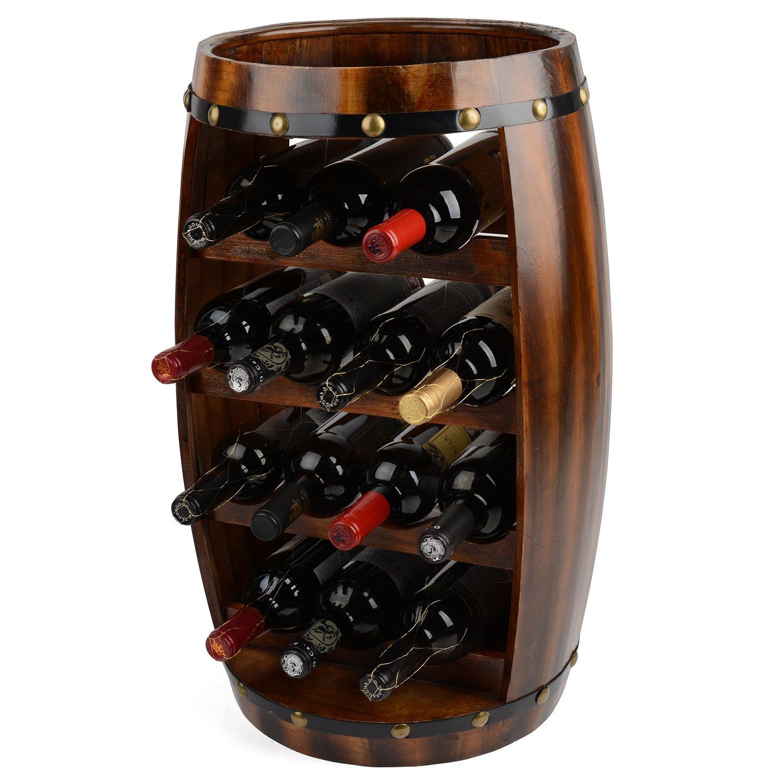 wine barrel wine rack furniture. Wooden Barrel Wine Rack Wood Bottle Holder Table Top 14 Bottles Christow H64.5cm: Amazon.co.uk: Kitchen \u0026 Home Furniture