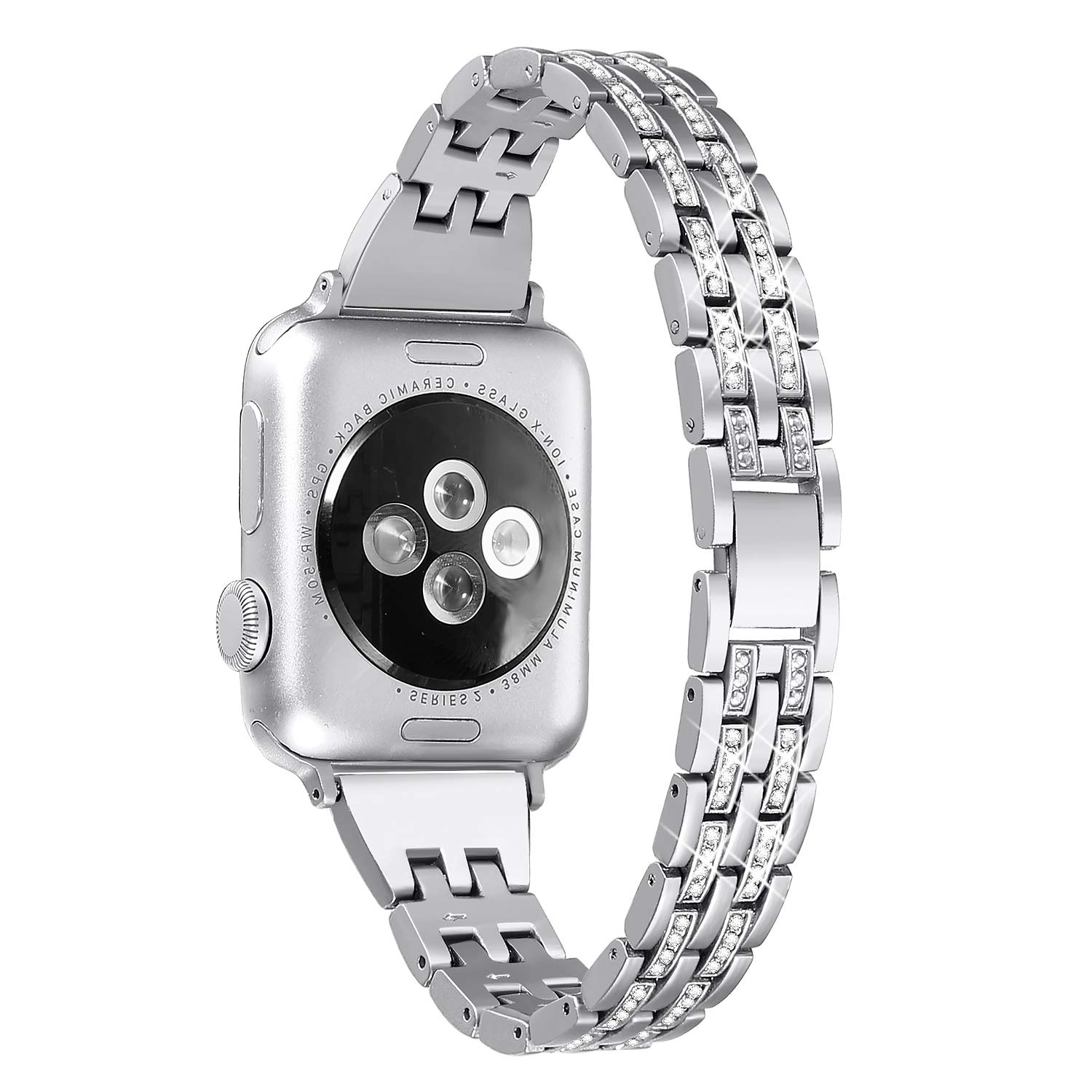 Secbolt Bling Bands Compatible Apple Watch Band 38mm 40mm iWatch Series 3, Series 2, Series 1, Diamond Rhinestone Metal Jewelry Wristband Strap, Silver by Secbolt