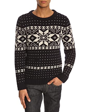 A.P.C. - Crew-neck Sweaters - Men - Yeti Navy Fair Isle Sweater ...