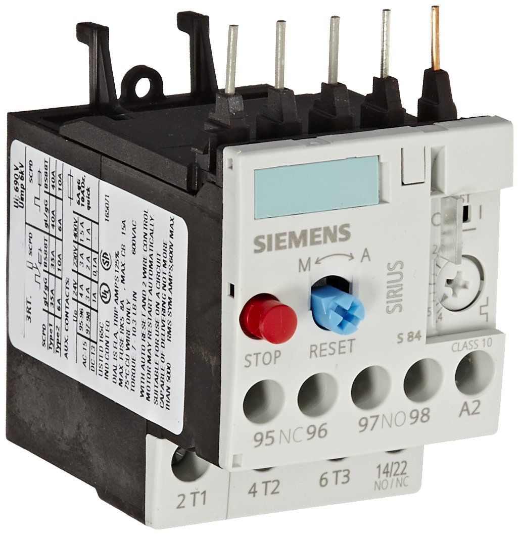 Siemens 3RU11 16-1BB0 Thermal Overload Relay, For Mounting Onto Contactor, Size S00, 1.4-2A Setting Range
