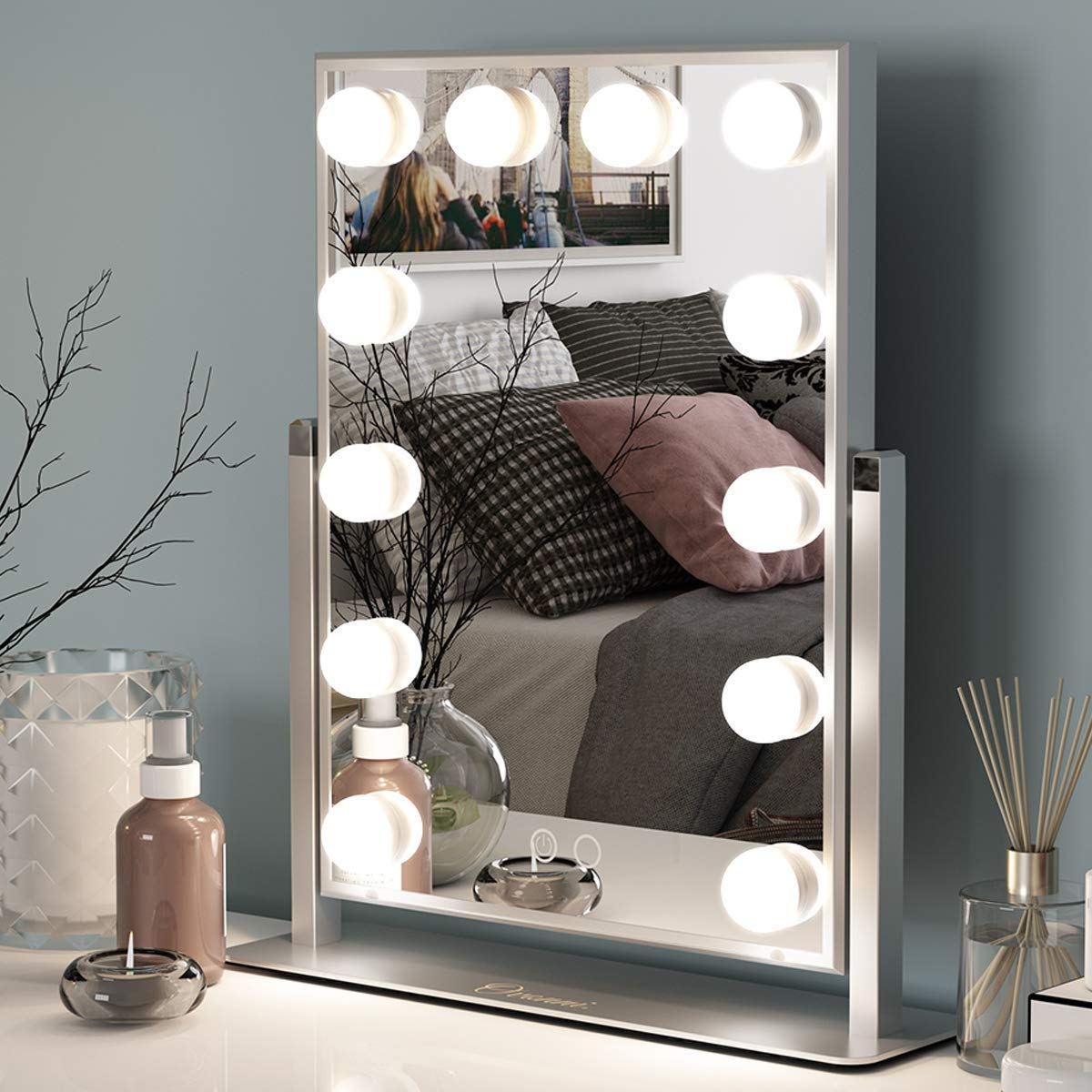 Ovonni Vanity Makeup Hollywood Mirror with 12 Detachable LED Bulbs and 2 Replacement Bulbs 2 Colors Touch Control Dimmable Brightness 360 Rotating for Bedroom Dressing Table 12 bulbs, Sliver