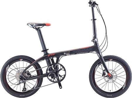 """Sava - Bicicleta Plegable de 20"""" de Fibra de Carbono con Sistema de Transmisión Shimano 3000, 9 Velocidades, Neumáticos Cste, Fácil de Transportar, ..."""