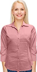 Rib Knit Woven 3/4 Sleeve Blouse Fit Pleated Button Down Casual Tops by Zac