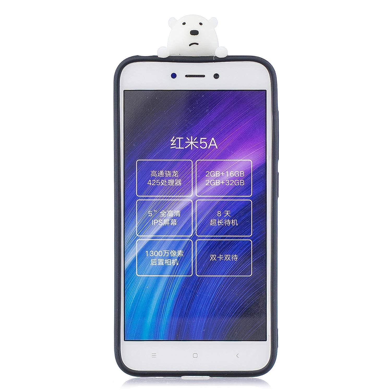 3D Oso Patr/ón Ultra Delgado TPU Cover Suave Silicona Carcasa Gel Anti-Rasgu/ño Protectora Espalda Bumper Case para Xiaomi Redmi 4X Funluna Funda Xiaomi Redmi 4X Negro