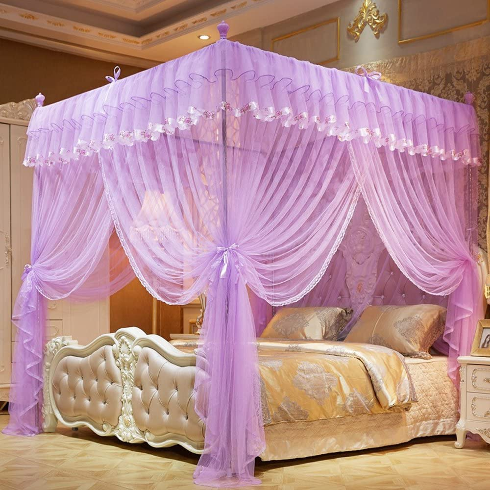 Mengersi Flowers 4 Corner Canopy Bed Curtains, Bed Canopy for Girls Kids Toddlers Crib(Queen,Purple)