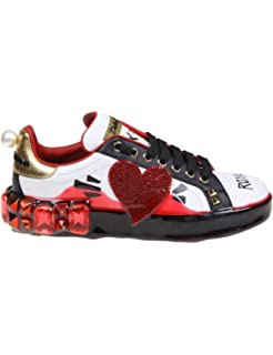 Dolce e Gabbana Womens CK1544AZ745HWF57 Red Leather Sneakers