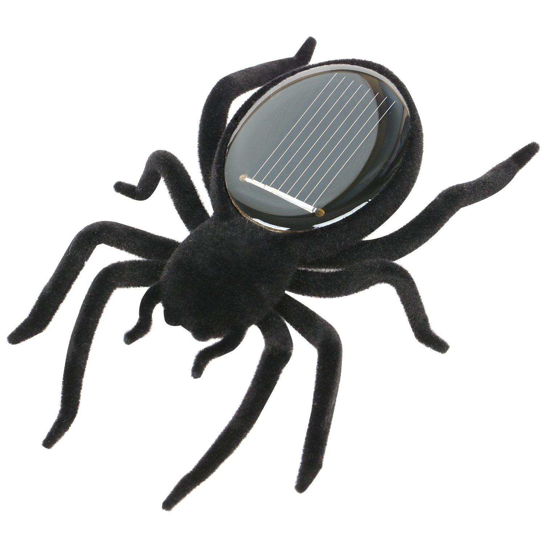 Trixes Schwarze solarbetriebene Roboter Spinne Tarantula brummt und wackelt Beim Laufen