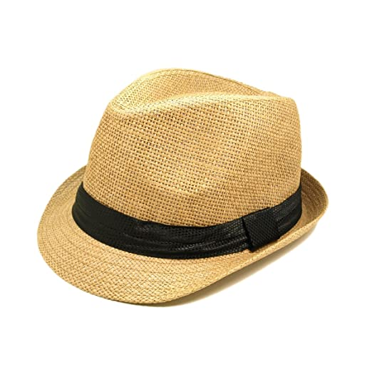 Classic Tan Fedora Straw Hat with Black Band at Amazon Women s ... d1655991ac1