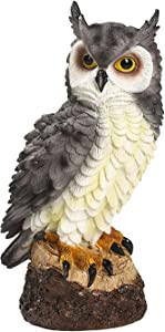 SS SUNSBELL Owl Statue, Resin Garden Owl Statue, Defender of The Garden, Resin Owl Decorations for Outdoor Patio Lawn, to Protect Fruit and Vegetables from Birds (Grey)