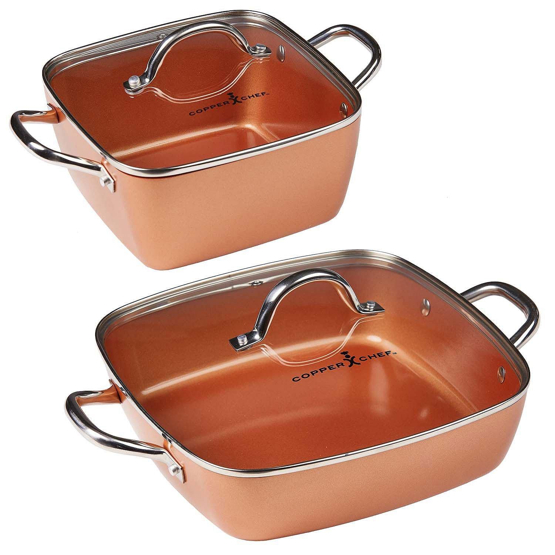 "Copper Chef 4-Piece Deep Casserole Pan Set (8"", 12"")"