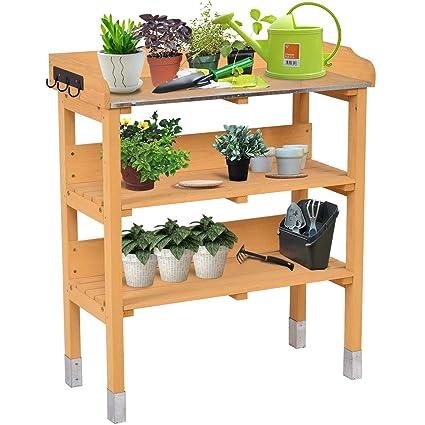 Giantex 3 Tier Wooden Potting Bench Garden Planting Workstation Shelves W/3  Hooks(Tawny 3 Tier)