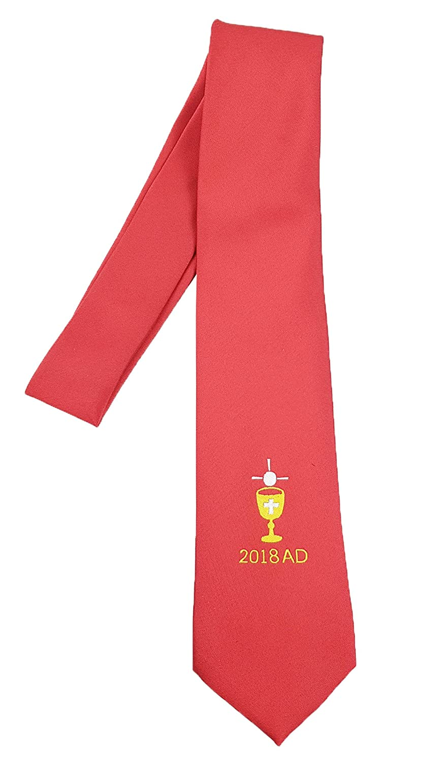 Boys First Holy Communion Tie Red Dated With Chalice