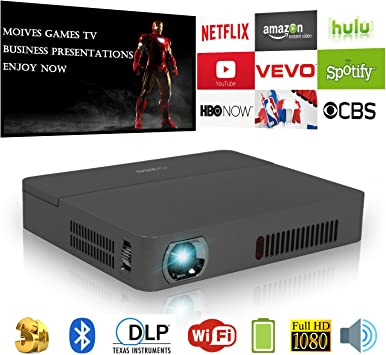Proyector inalambrico 3D HD Mini proyector Bluetooth 2000 Lumen ...