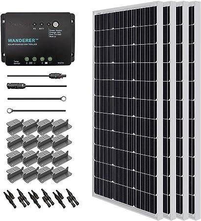 side facing renogy 400 watt 12 volt monocrystalline solar starter kit