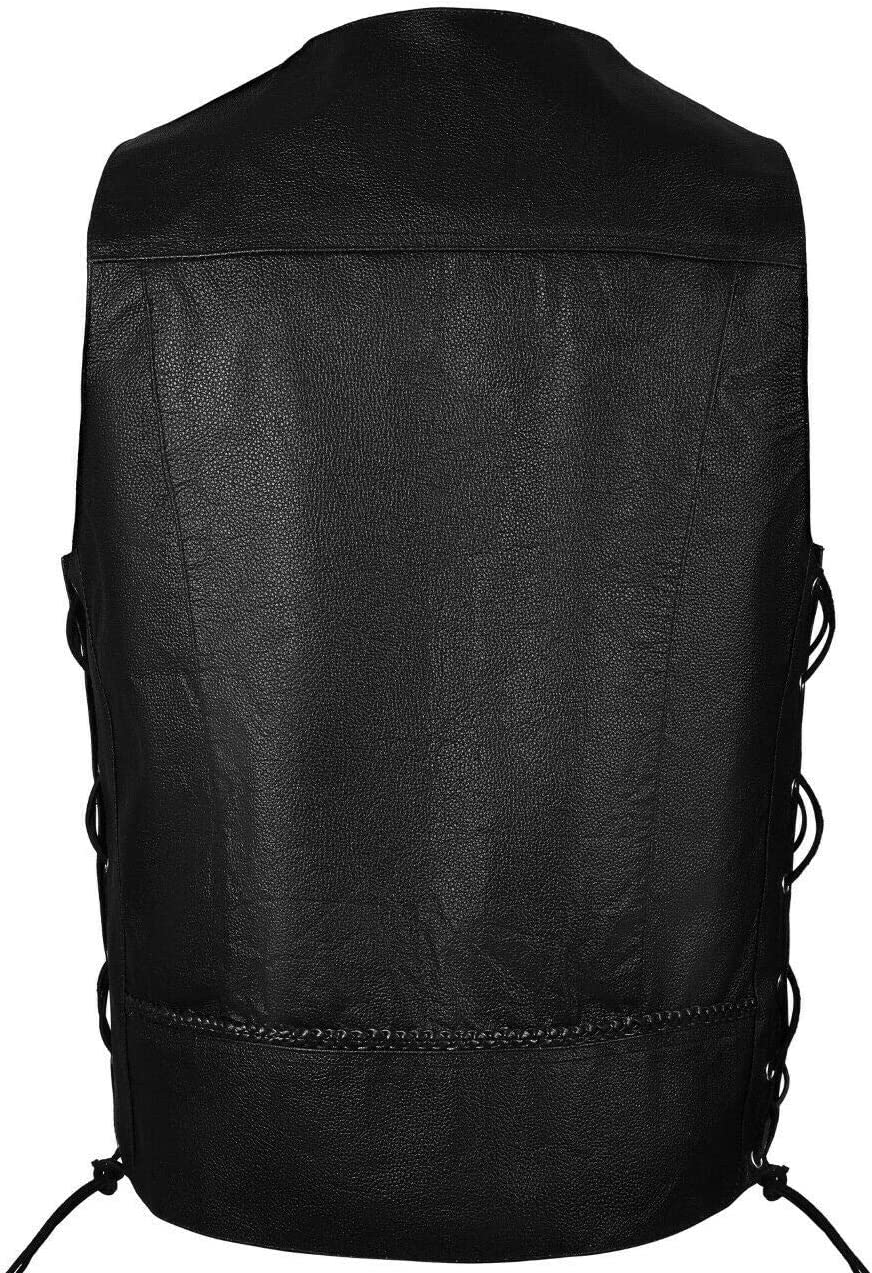 ARD Premium Quality Mens Braided Side Lace Motorcycle Black Leather Vest S-6XL SMALL