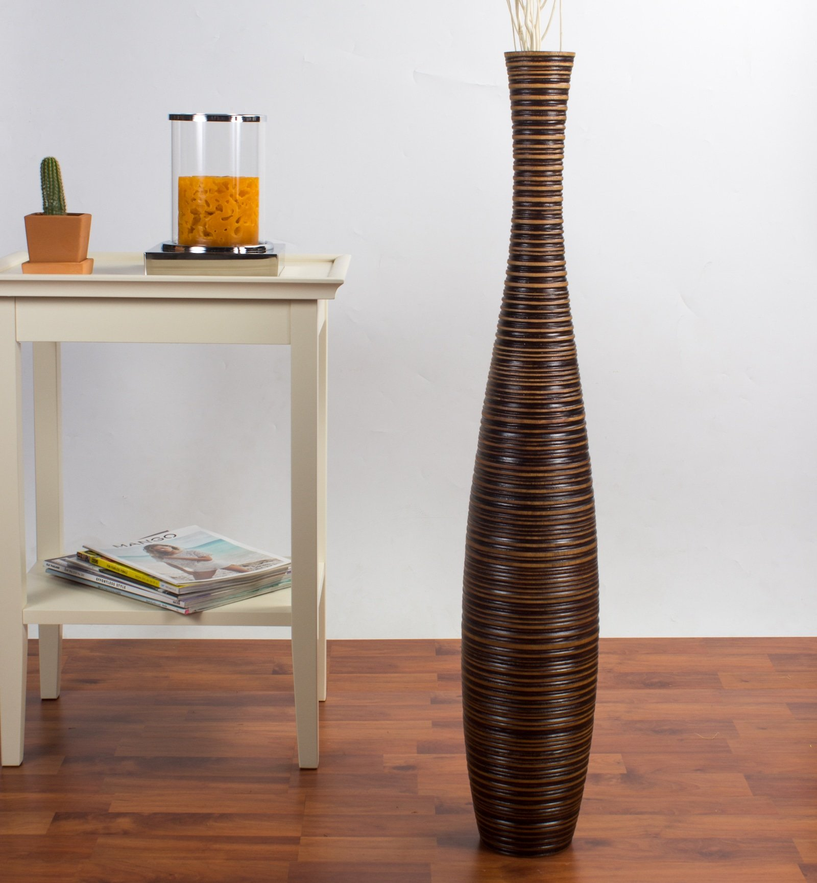 Leewadee Tall Floor Vase 36 inches, Wood, Brown
