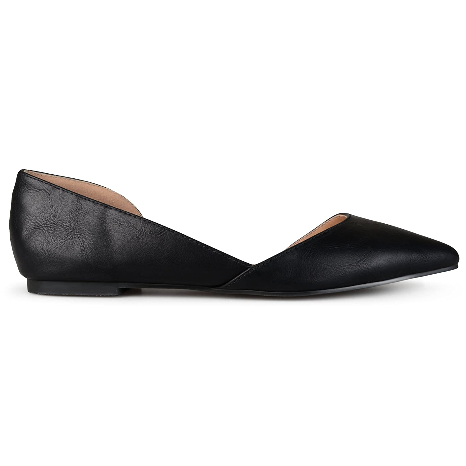 Brinley Co. Womens D'Orsay Cut-out Pointed Toe Fashion Flats Black 7