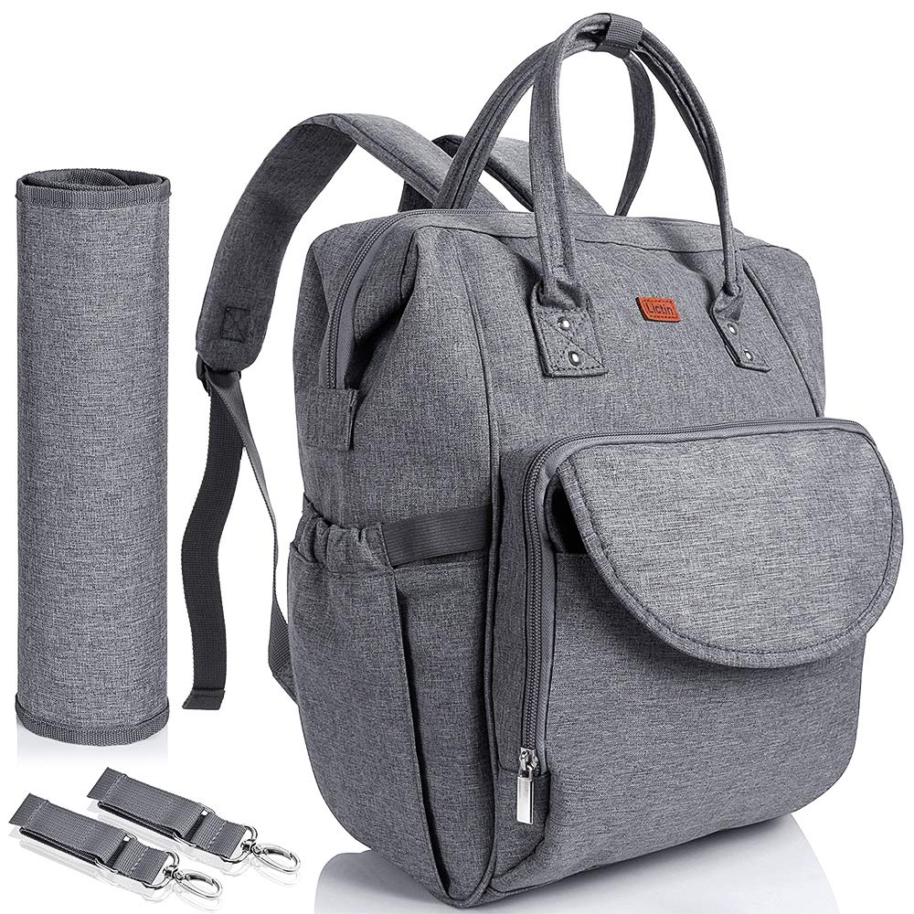 27x21x42cm Grey Travel Baby Diaper Bag Backpack with Changing Pad and Insulated Pocket Roomy Diaper Tote for Mom /& Dad with 2 Stroller Hooks Lictin Nappy Changing Bag Backpack