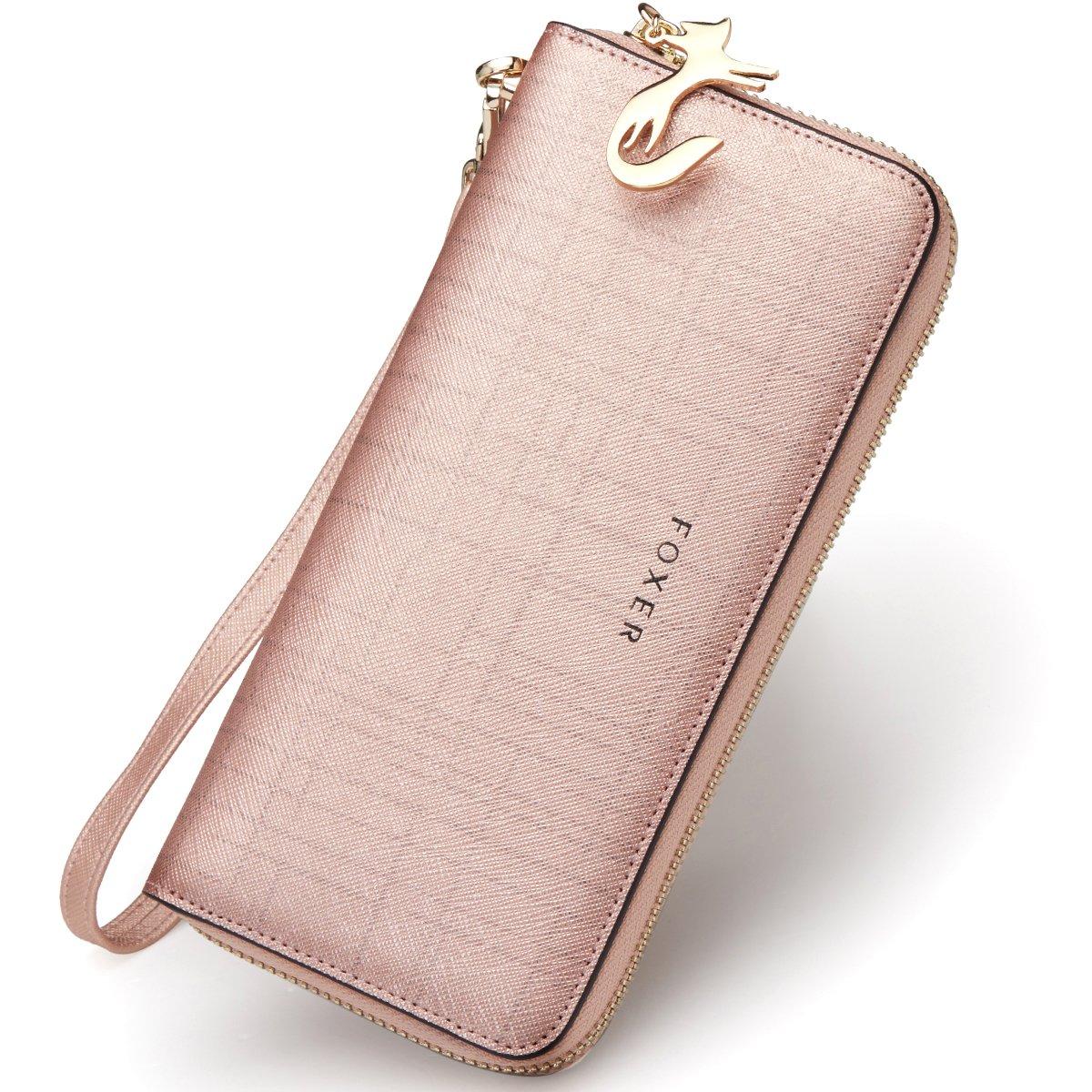 FOXER Women Leather Wallet Bifold Wallet Clutch Wallet with Wristlet (Rose Gold)